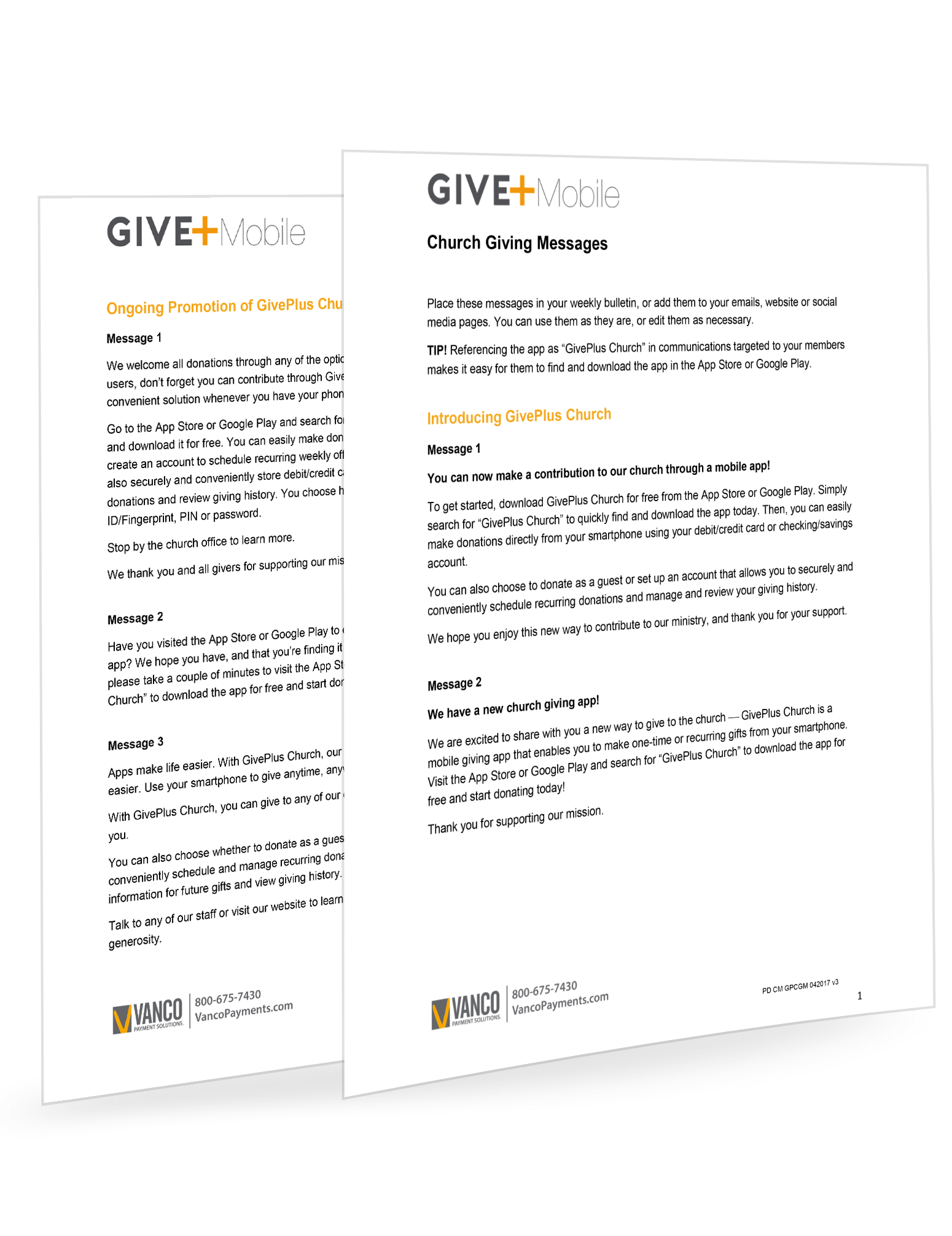 GivePlus Mobile eGiving Messages