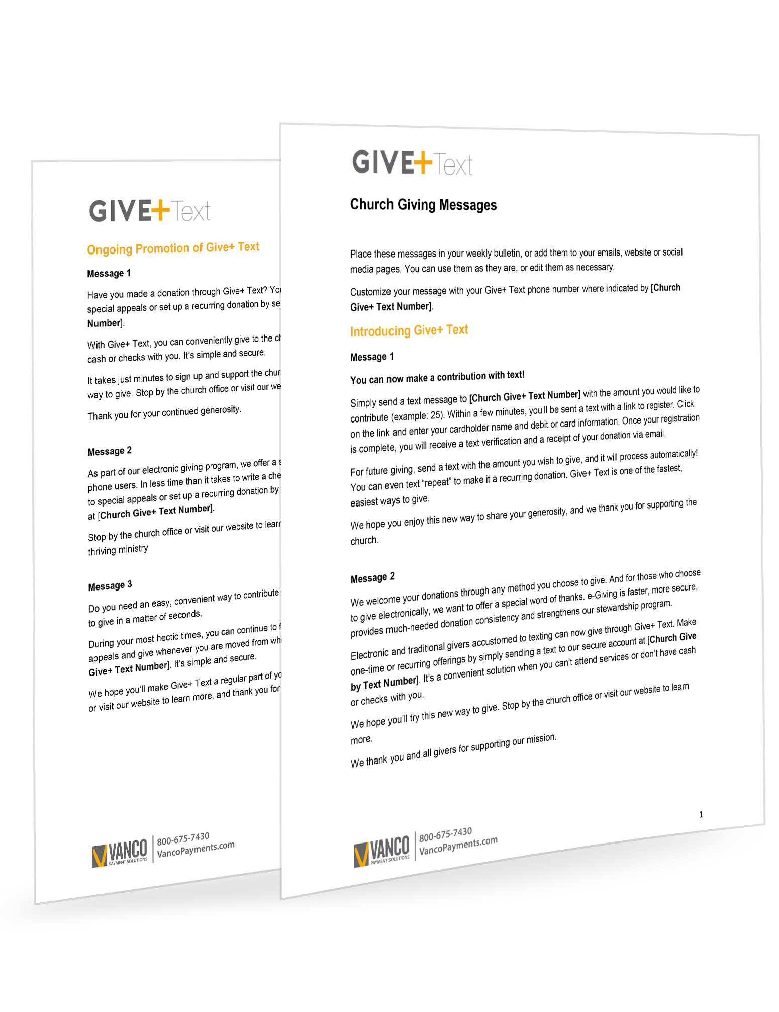 GivePlus Text Member Messages
