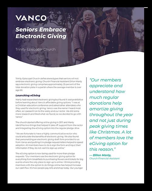 Case Study: Seniors Embrace Electronic Giving