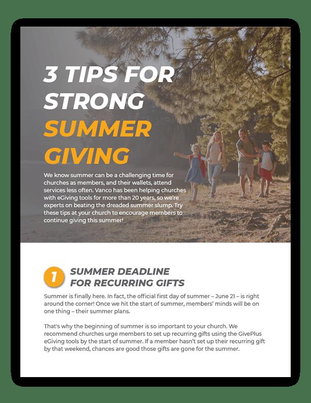 Summer Giving Tip Sheet